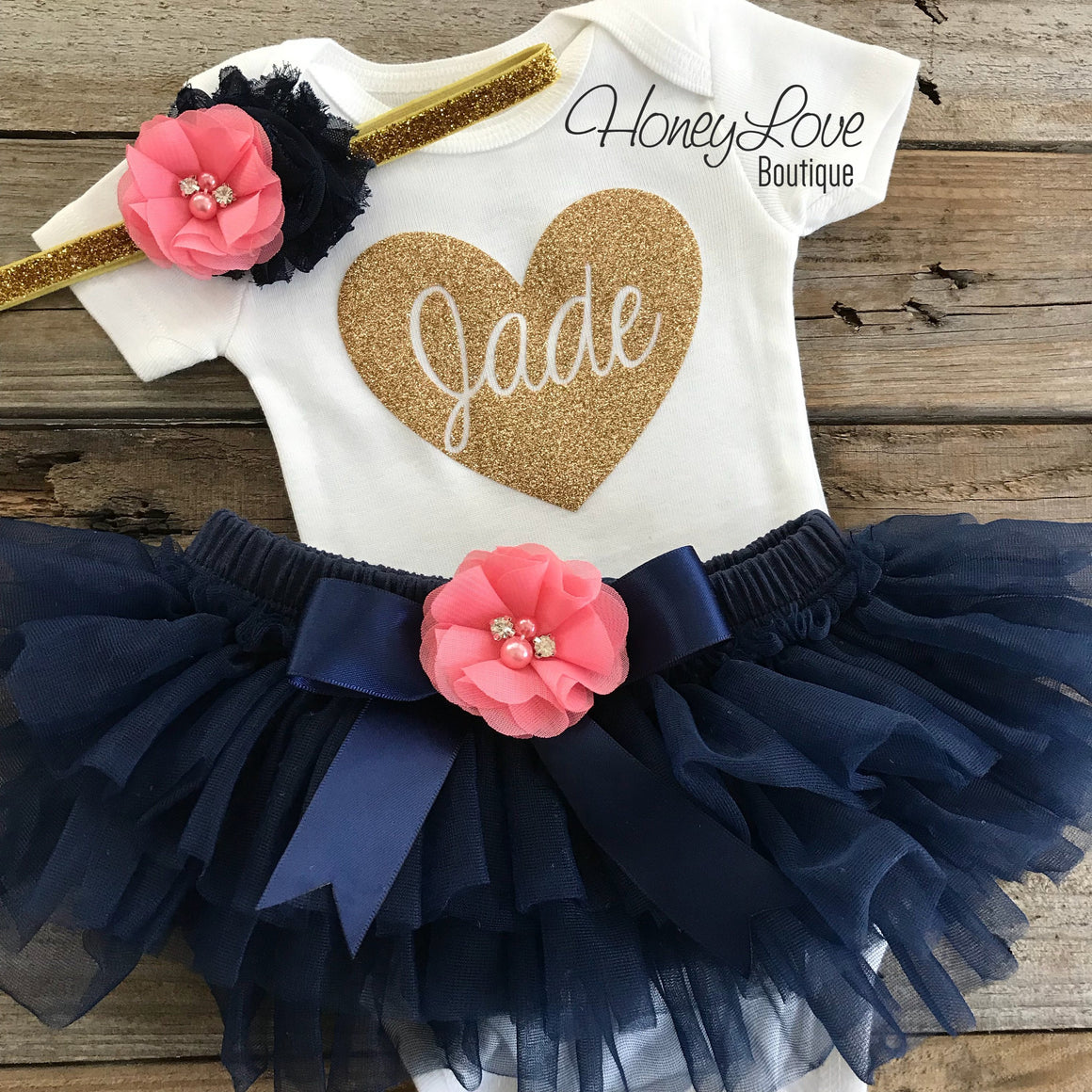 PERSONALIZED Name inside heart - Gold glitter, Navy Blue and Coral Pink - HoneyLoveBoutique