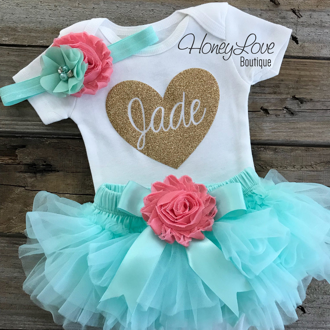 PERSONALIZED gold glitter name heart bodysuit, mint aqua coral flower tutu skirt bloomers newborn infant baby girl take home hospital outfit - HoneyLoveBoutique
