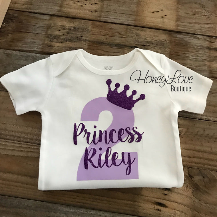 Personalized 2nd Birthday Princess Bodysuit or Shirt - Lavender Purple and Dark Purple glitter - HoneyLoveBoutique