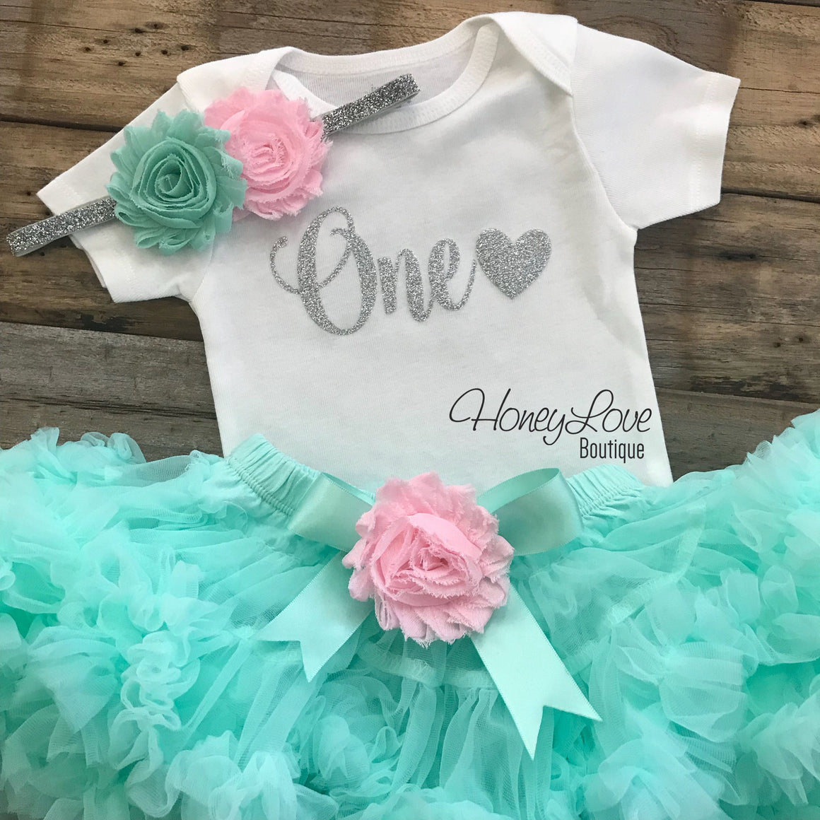 One with heart - Birthday Outfit - Mint/Aqua, Light Pink and Gold/Silver glitter - HoneyLoveBoutique