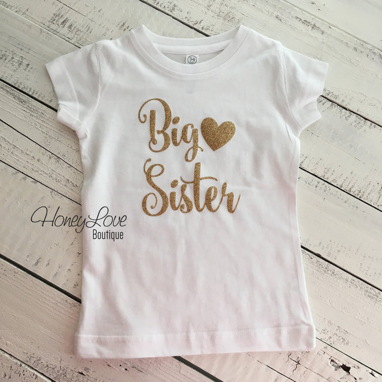 Sister bodysuits and shirts - Gold Glitter