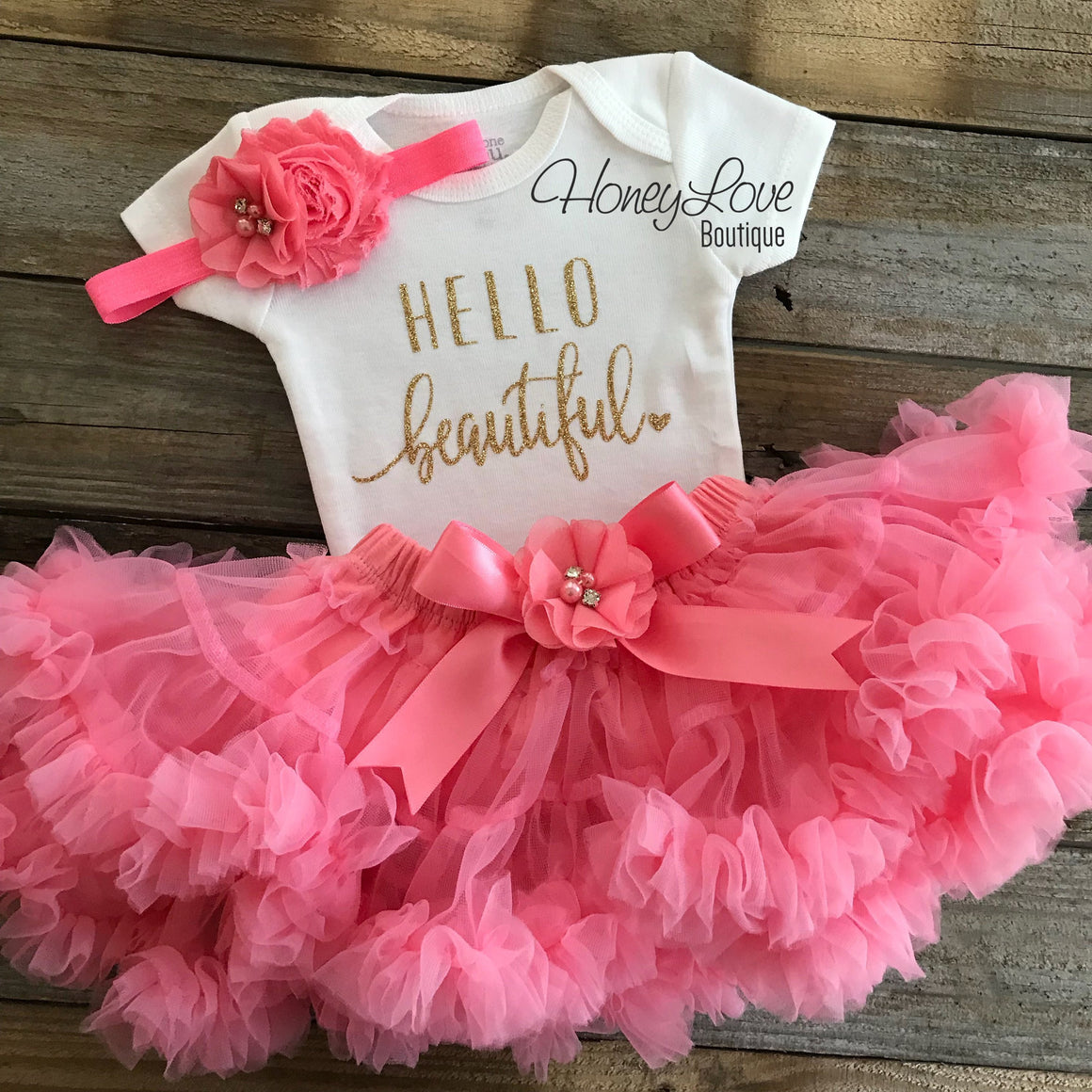 Hello Beautiful newborn baby girl coming home outfit set, take home hospital clothing, gold silver glitter, coral light pink pettiskirt tutu - HoneyLoveBoutique