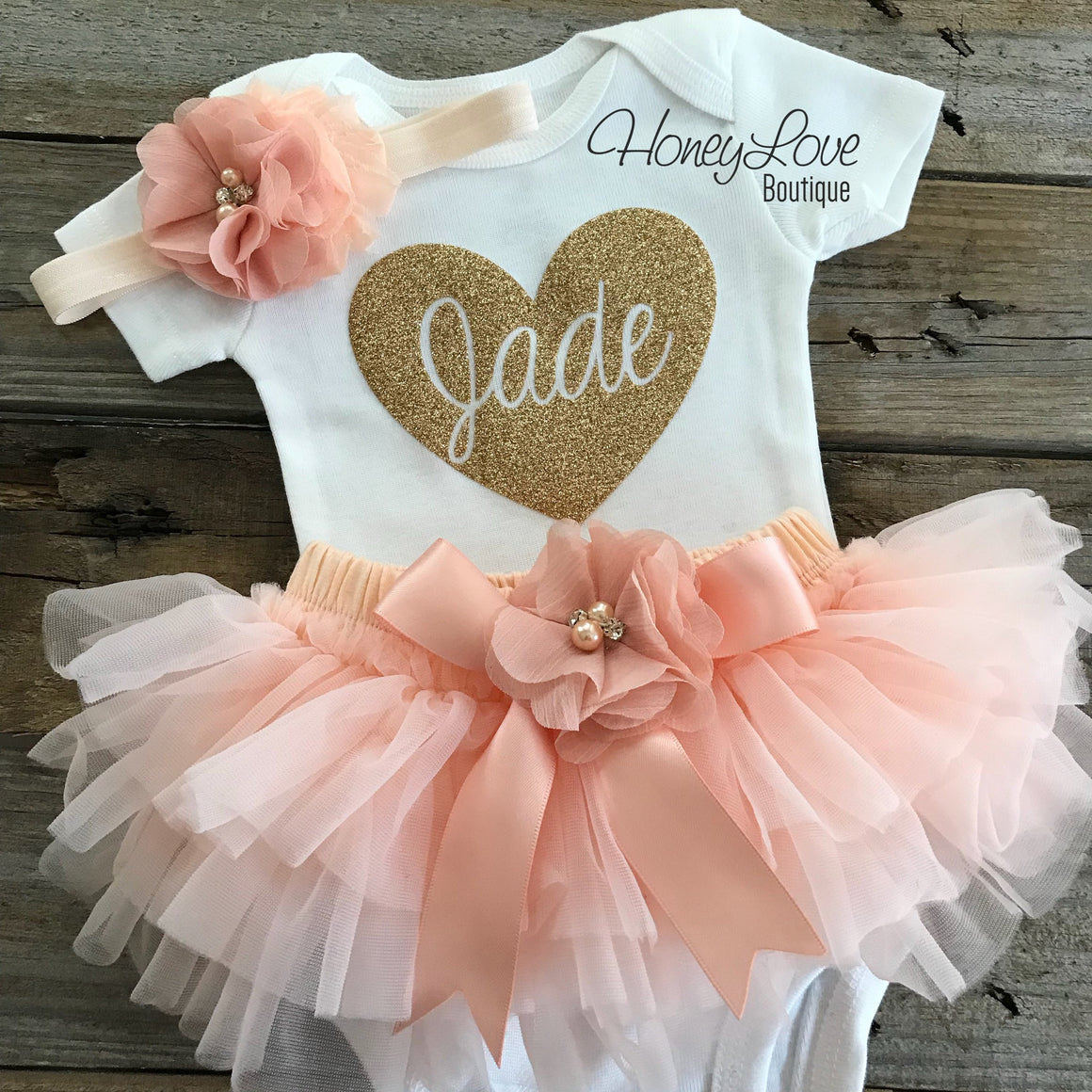PERSONALIZED Name inside Heart - Gold glitter and Peach - embellished tutu skirt bloomer - HoneyLoveBoutique