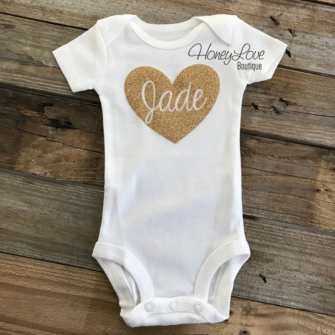 PERSONALIZED Name inside Heart - Vintage Pink and Gold/Silver/Rose Gold glitter - HoneyLoveBoutique