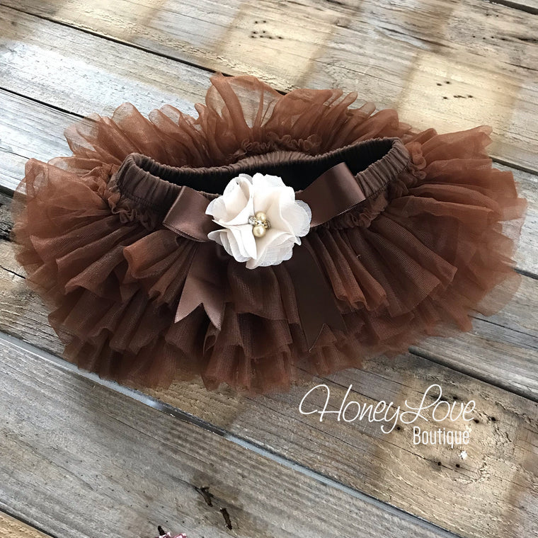 Brown tutu skirt bloomers - embellished ivory flower - HoneyLoveBoutique