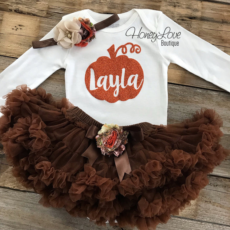 PERSONALIZED Pumpkin Thanksgiving Fall Halloween outfit - Brown embellished pettiskirt - HoneyLoveBoutique