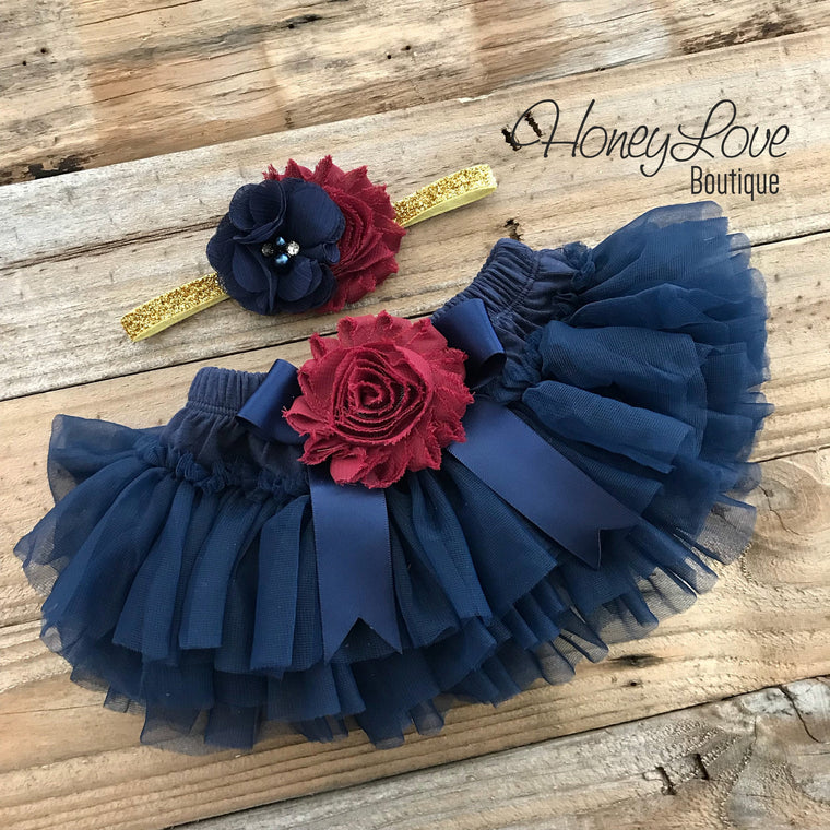Navy Blue tutu skirt bloomers - embellished Maroon/Burgundy shabby flower - with matching headband - HoneyLoveBoutique