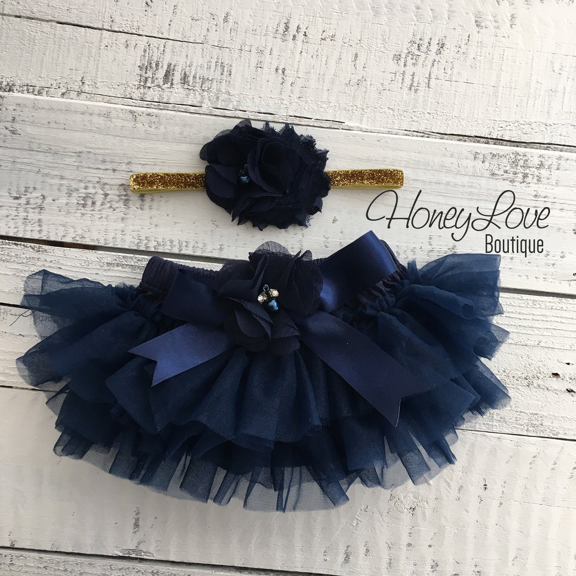 Navy Blue embellished tutu skirt bloomers and matching headband - HoneyLoveBoutique