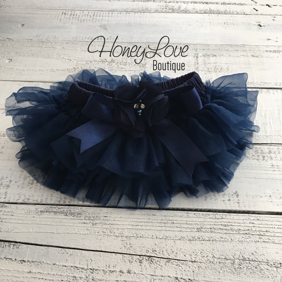 Navy Blue tutu skirt bloomers - Embellished bloomers - HoneyLoveBoutique
