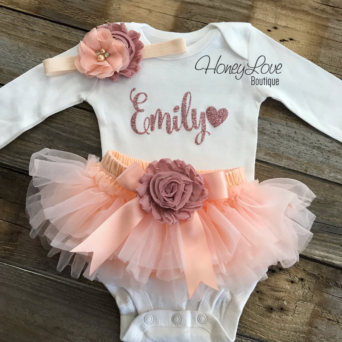 PERSONALIZED Name Outfit - Rose Gold glitter and Peach/Vintage Pink - embellished tutu skirt bloomers - HoneyLoveBoutique