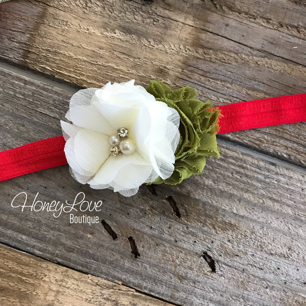 Red, Olive Green and Ivory shabby chiffon flower headband - HoneyLoveBoutique