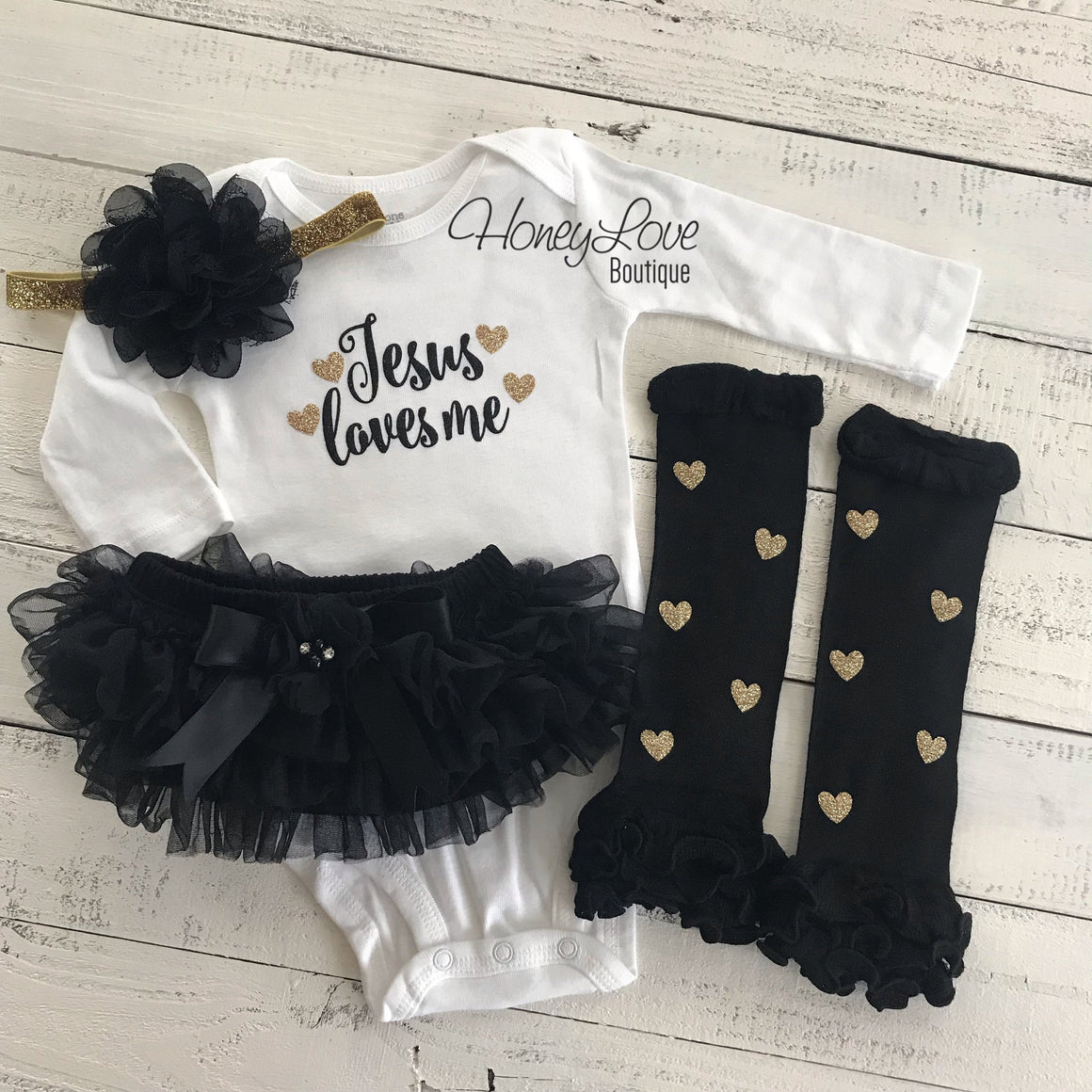 Jesus loves me Outfit Set - embellished tutu skirt bloomers - HoneyLoveBoutique