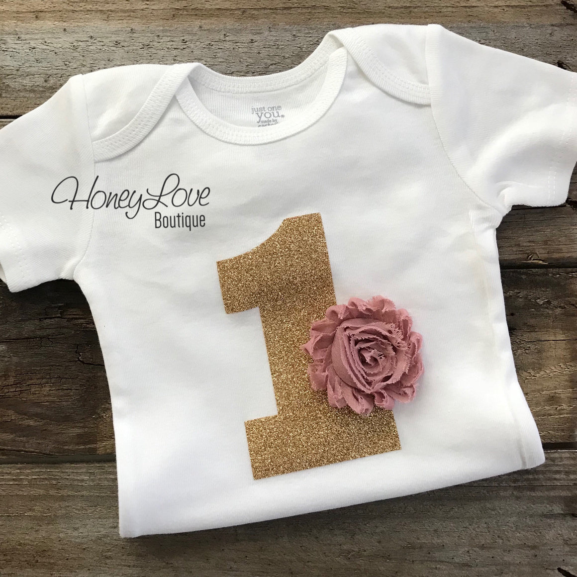 PRE-ORDER FOR MID MARCH - 1st Birthday Outfit - Vintage Pink and Gold glitter - HoneyLoveBoutique