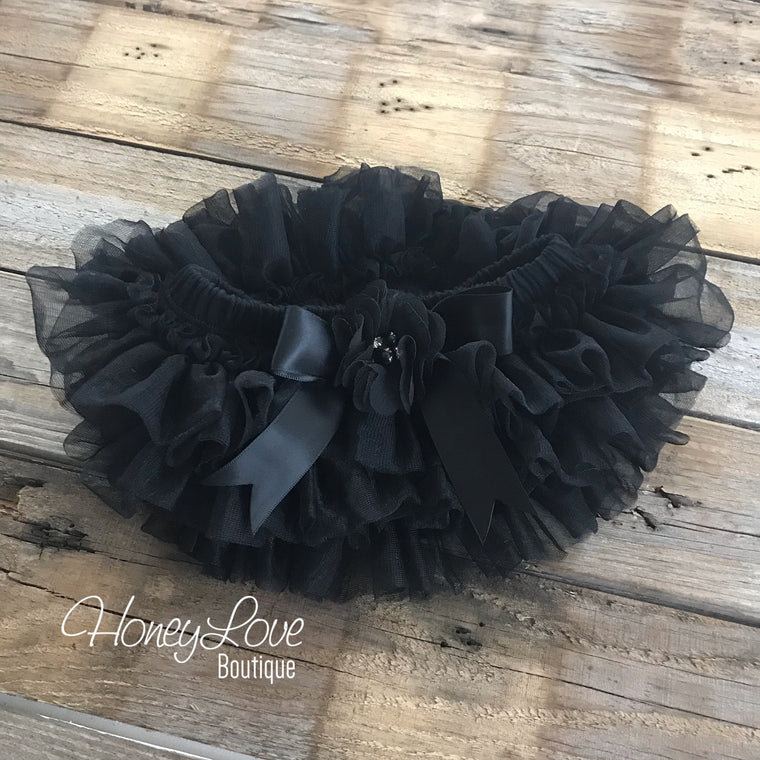 Black tutu skirt bloomers diaper cover, embellished black pearl flower, ruffles all around newborn infant toddler little baby girl skirt - HoneyLoveBoutique