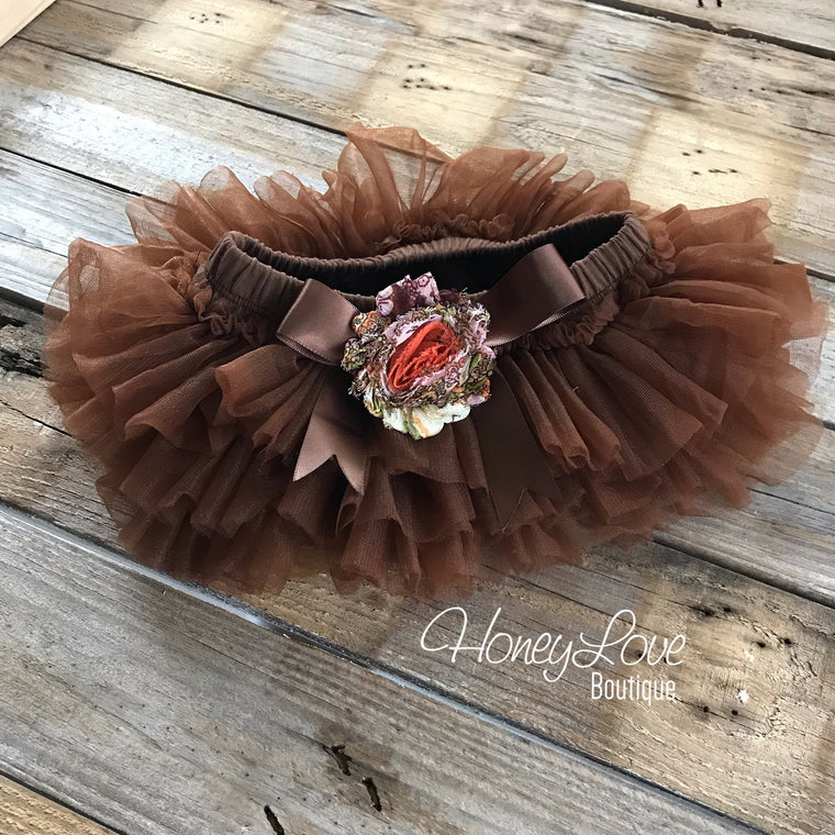 Brown tutu skirt bloomers - embellished bloomers - HoneyLoveBoutique