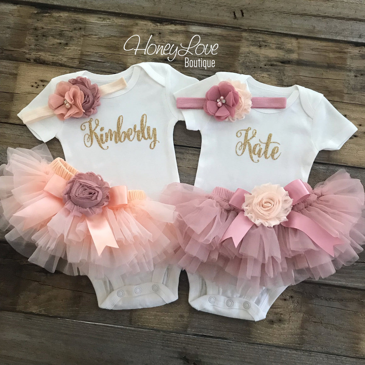 TWIN GIRLS! Peach and Vintage Pink Personalized Name Outfits - Gold, Silver or Rose Gold glitter - HoneyLoveBoutique