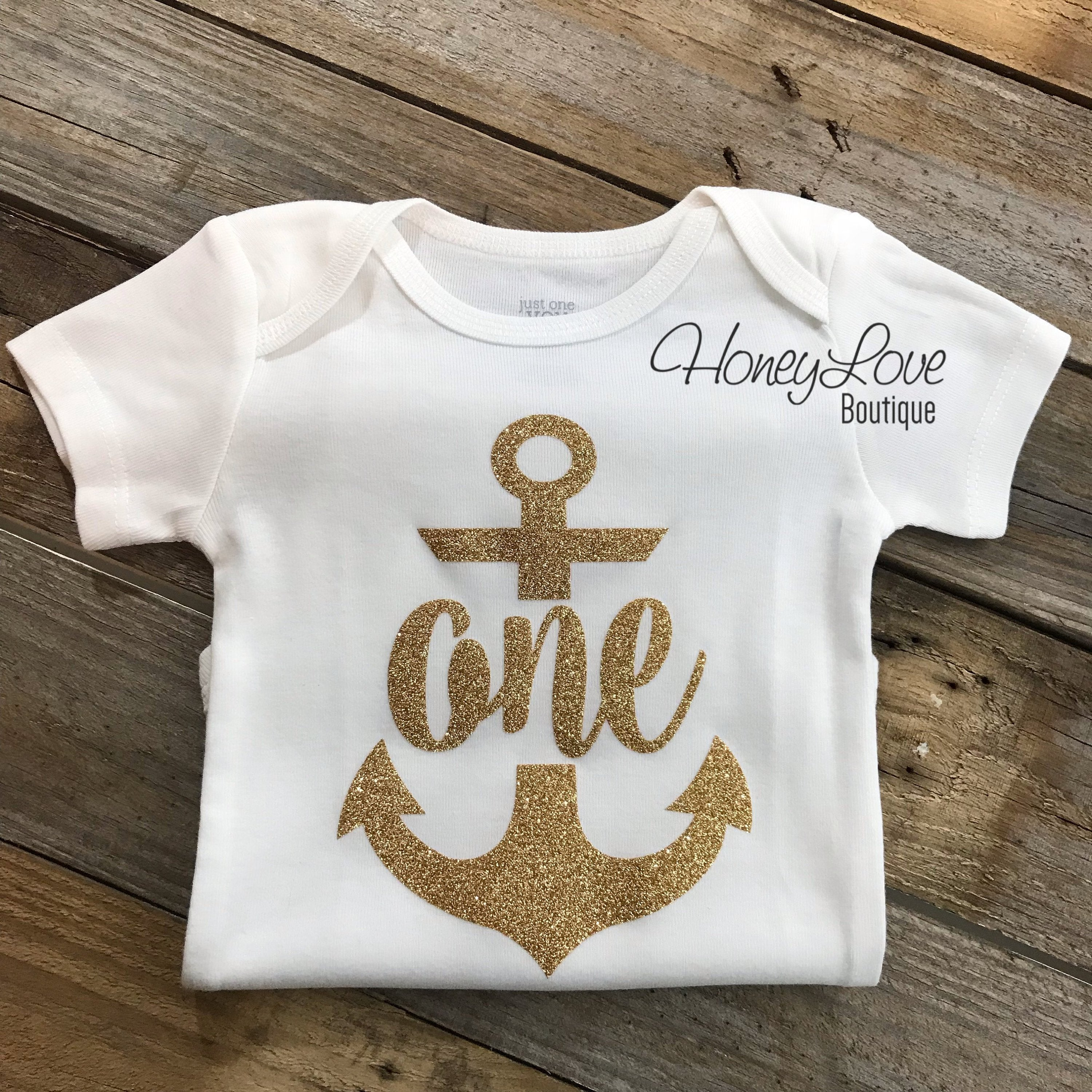 c8006f8470b Anchor One Birthday bodysuit - HoneyLoveBoutique