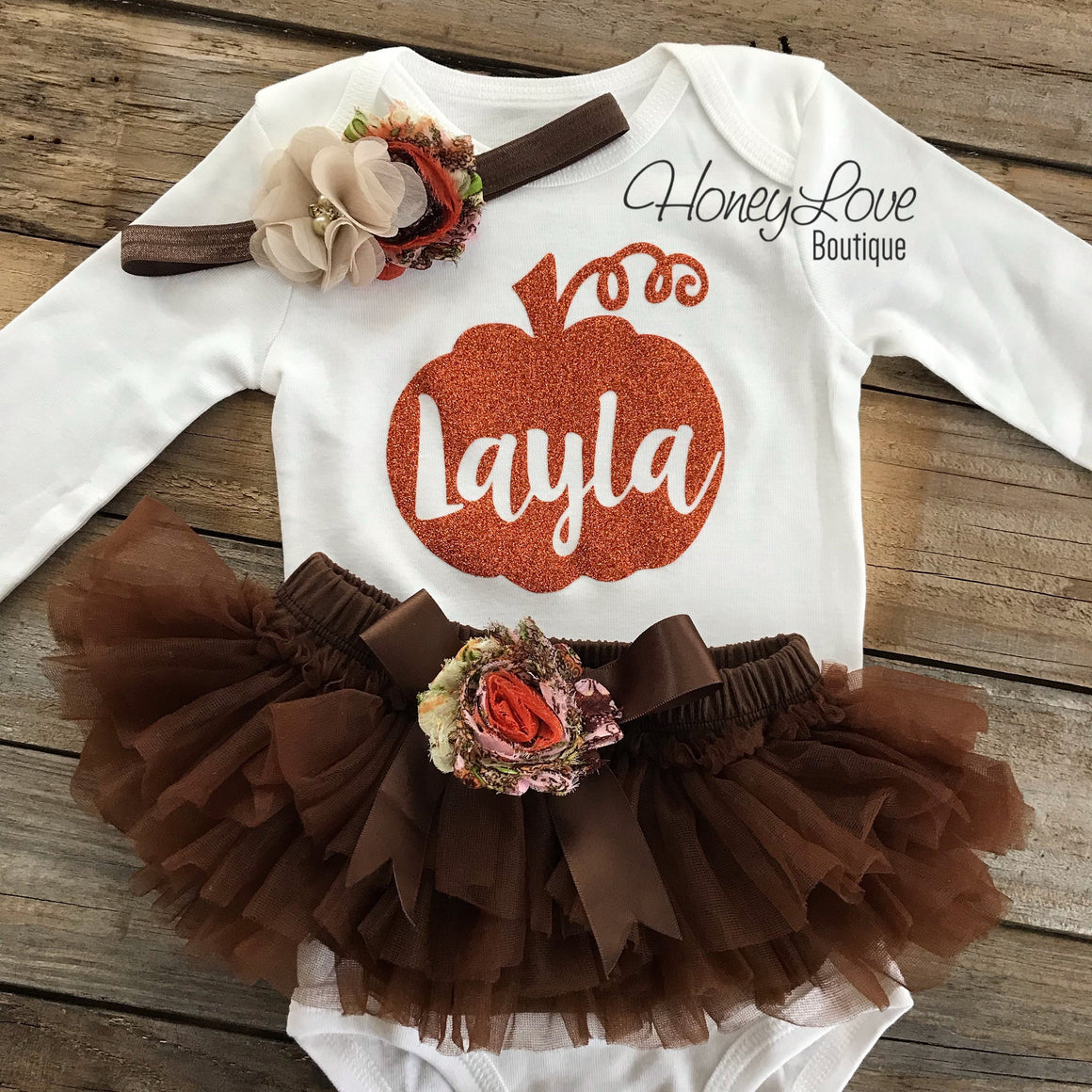 PERSONALIZED Pumpkin Thanksgiving Fall Halloween outfit - Brown embellished tutu skirt bloomers - HoneyLoveBoutique