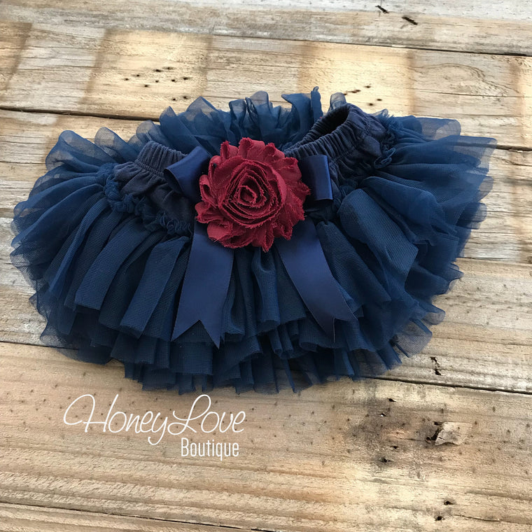 Navy Blue and Maroon Embellished tutu skirt bloomers - HoneyLoveBoutique