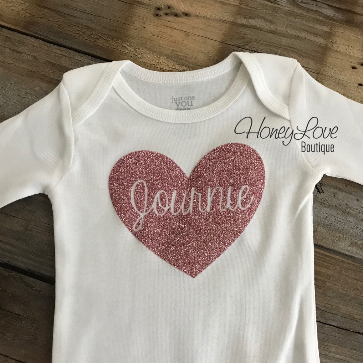 PERSONALIZED Name inside Heart - Vintage Pink and Rose Gold glitter - HoneyLoveBoutique