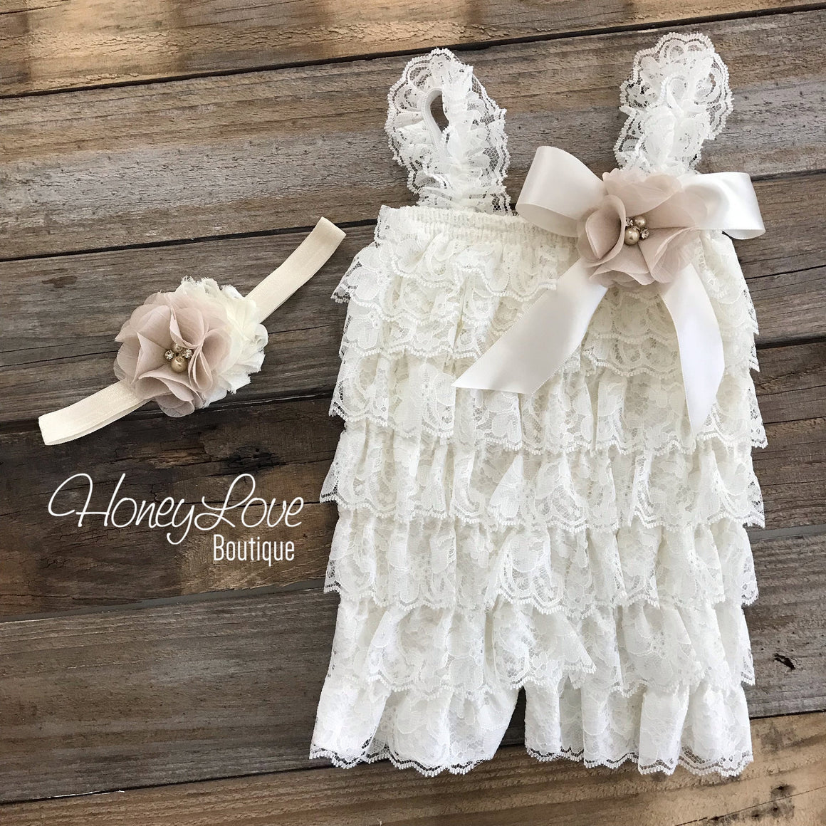Lace Petti Romper - Ivory and matching flower headband - HoneyLoveBoutique