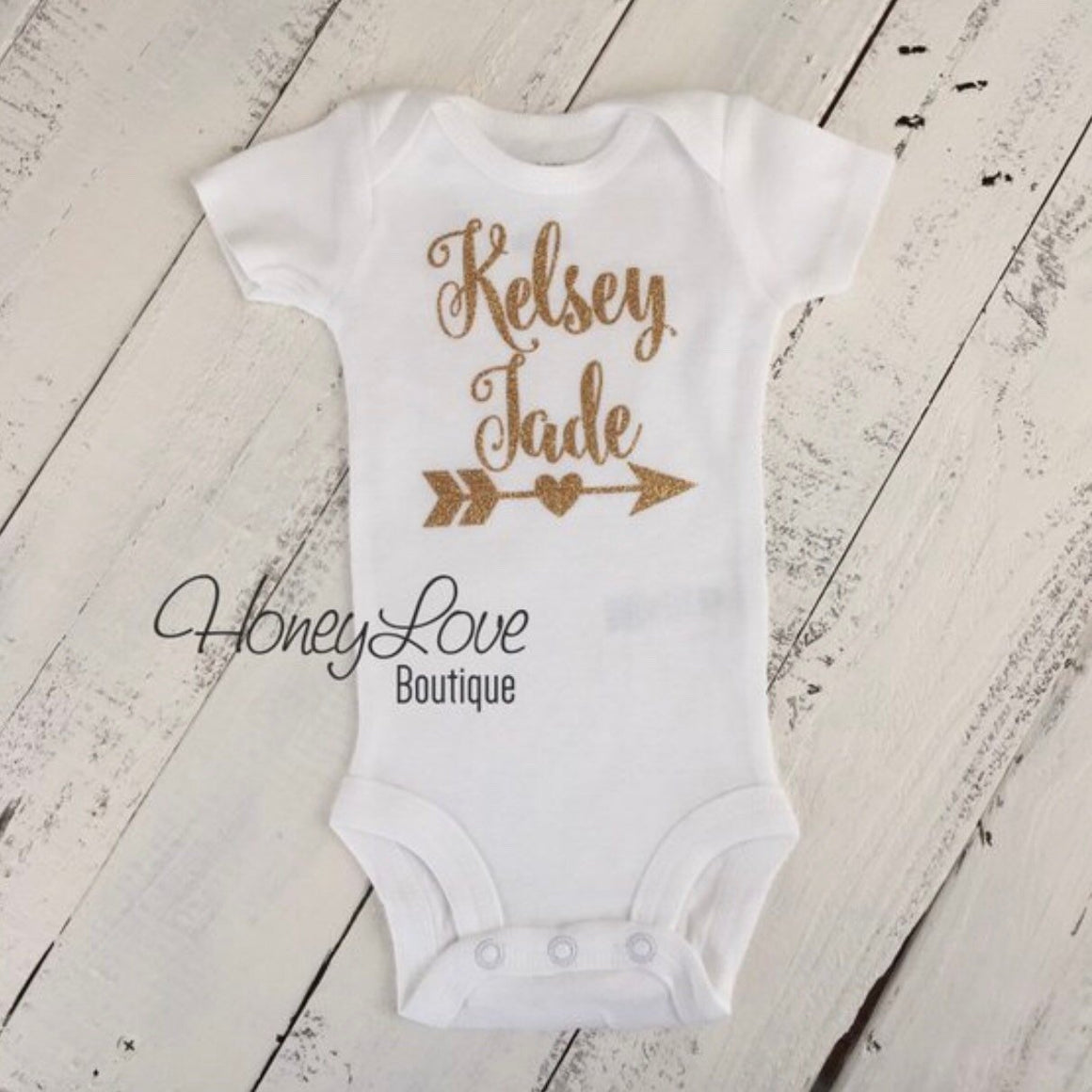 PERSONALIZED gold glitter heart arrow name shirt bodysuit, peach tutu skirt bloomers, flower headband, newborn baby girl take home outfit - HoneyLoveBoutique