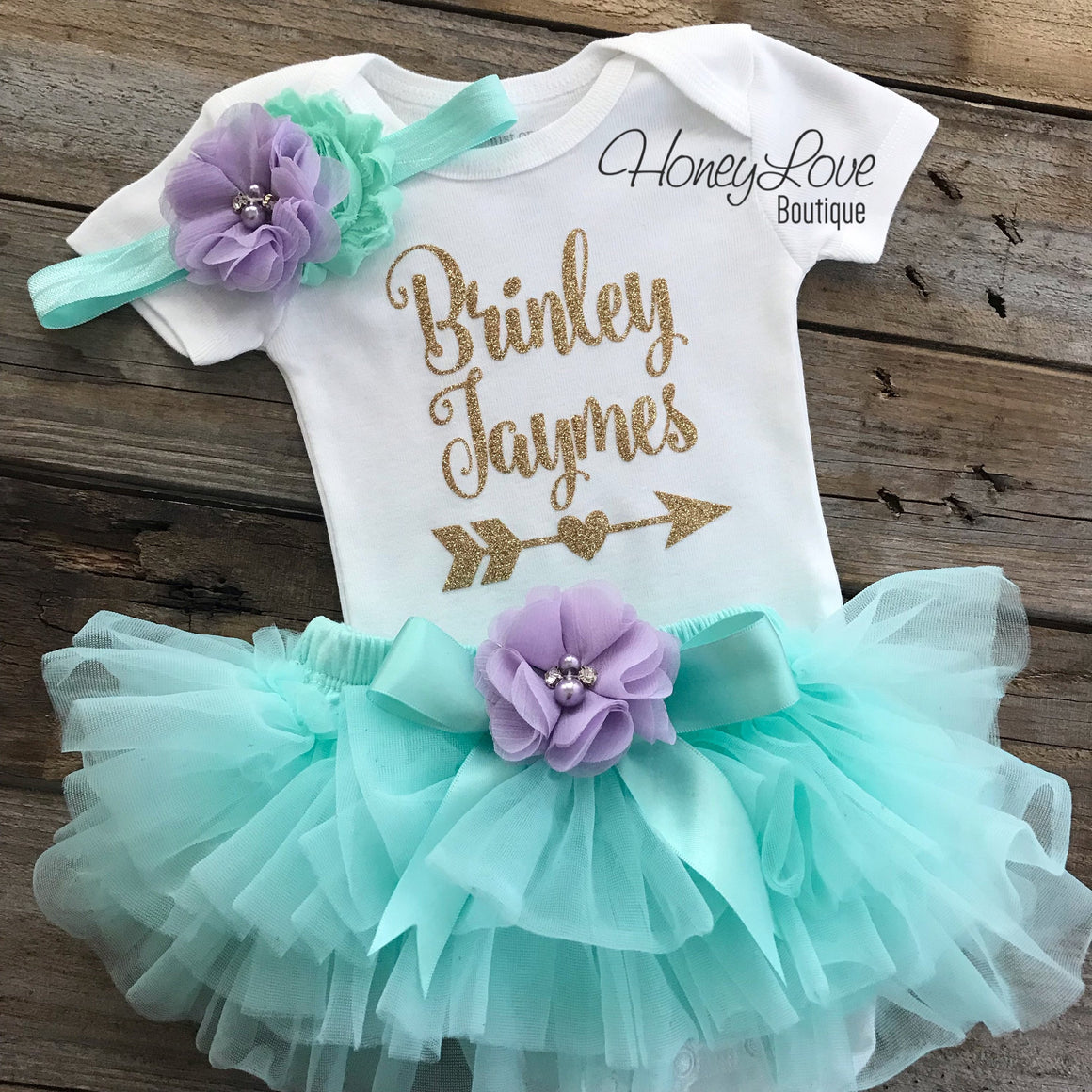 PERSONALIZED Name with Arrow - Gold Glitter, Mint/Aqua and Lavender Purple - HoneyLoveBoutique