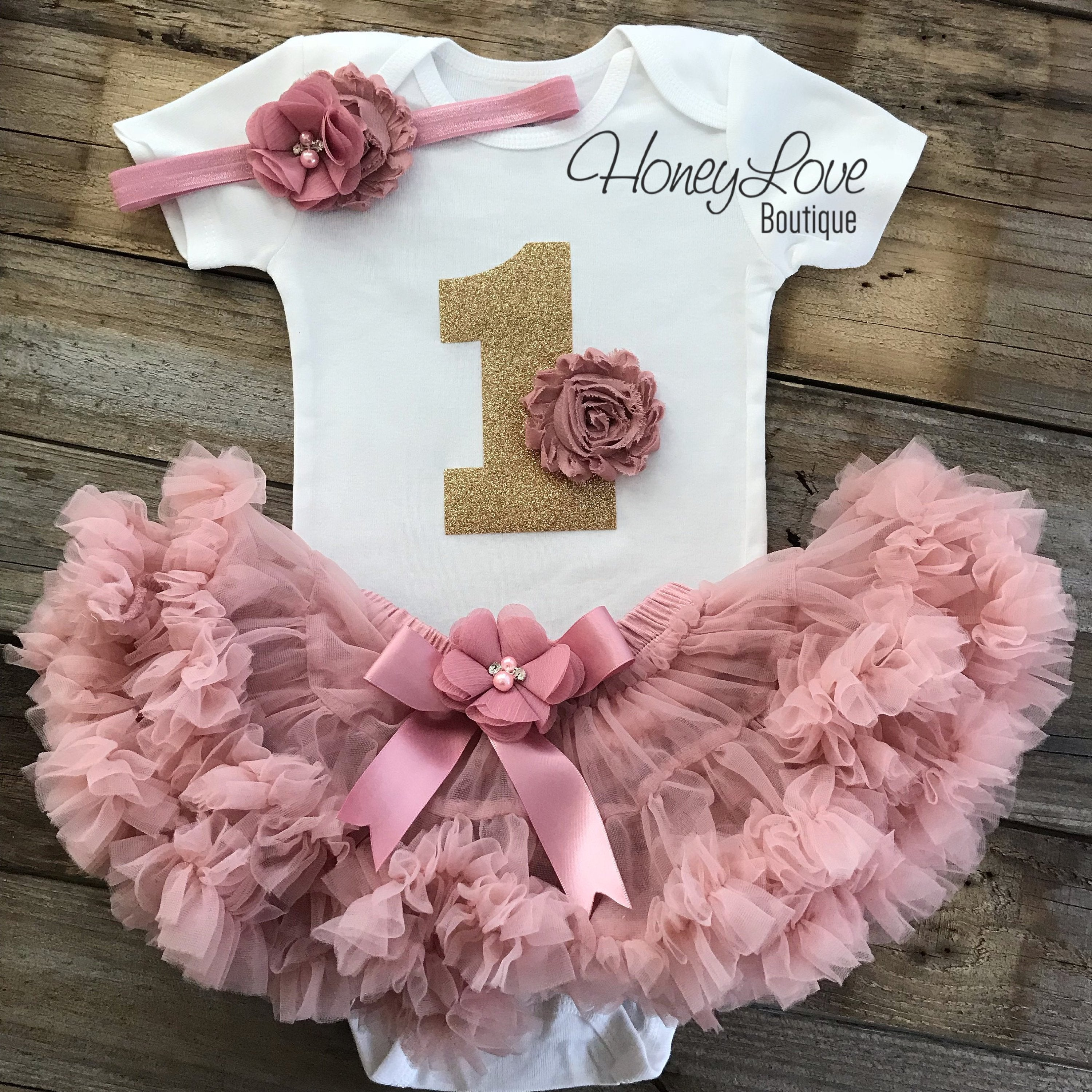 1f5a856895427 1st Birthday Outfit - Vintage Pink and Gold glitter - HoneyLoveBoutique