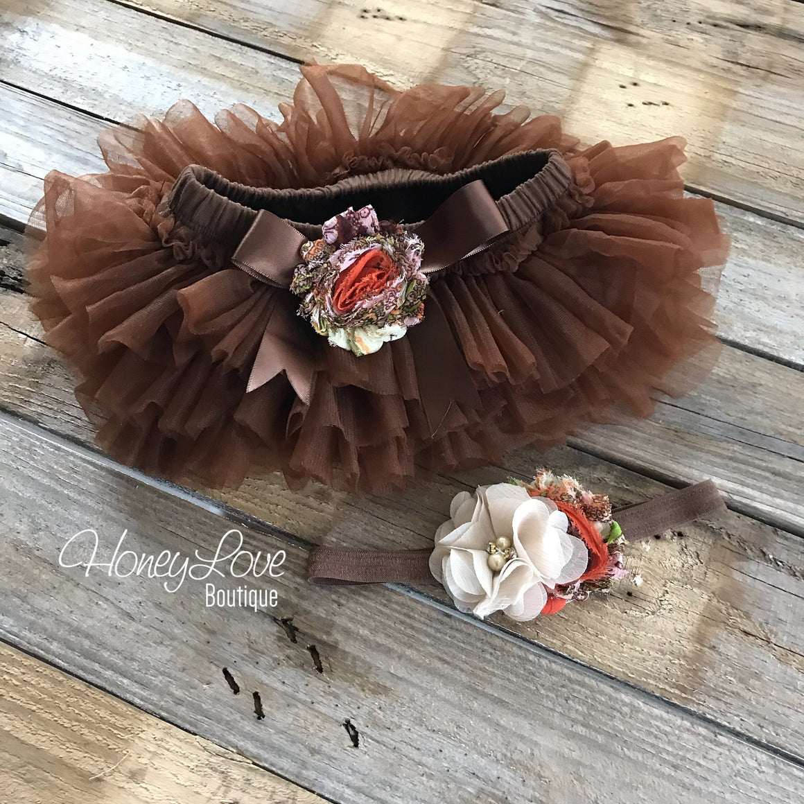 Brown tutu skirt bloomers - embellished tutu skirt bloomers and headband - HoneyLoveBoutique