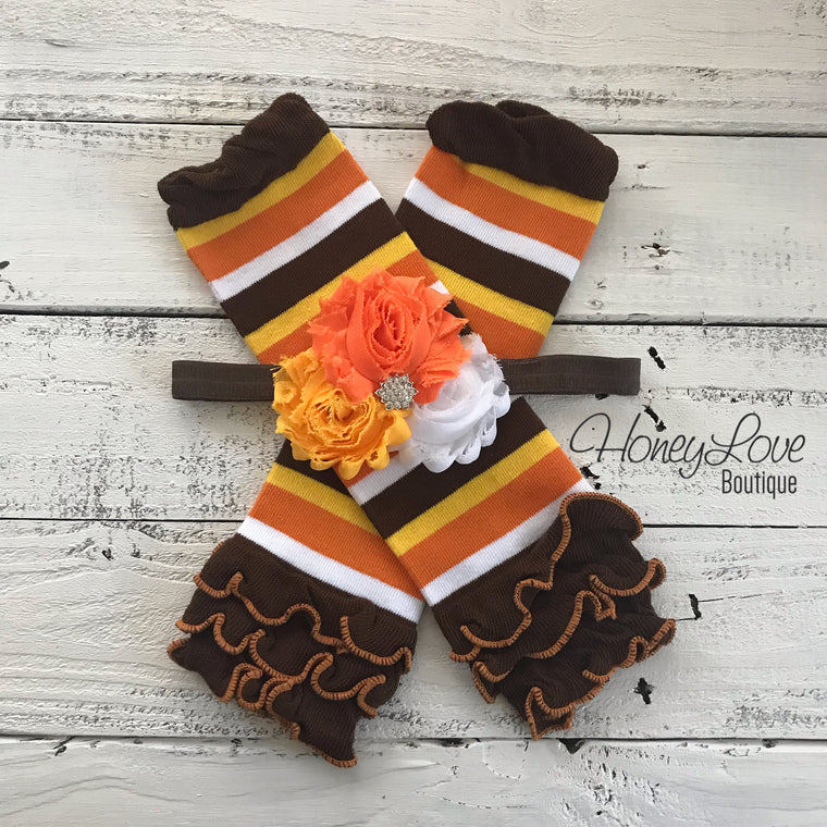 Orange, Brown, Yellow and White Stripe Leg Warmers and Candy Corn headband - HoneyLoveBoutique