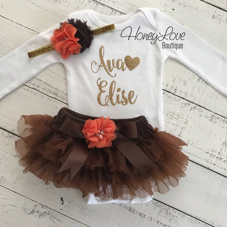 PERSONALIZED Name Outfit - Gold Glitter, Brown and Orange - embellished tutu skirt bloomers - HoneyLoveBoutique