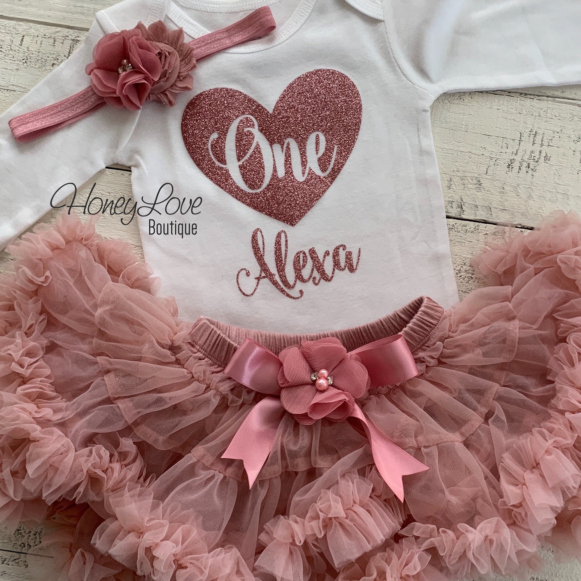 Personalized One with heart - Birthday Outfit - Vintage Pink and Rose Gold Glitter - HoneyLoveBoutique