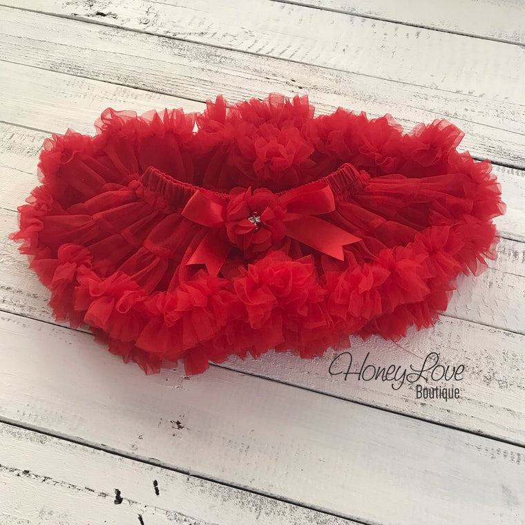 Red Pettiskirt - embellished flower - HoneyLoveBoutique