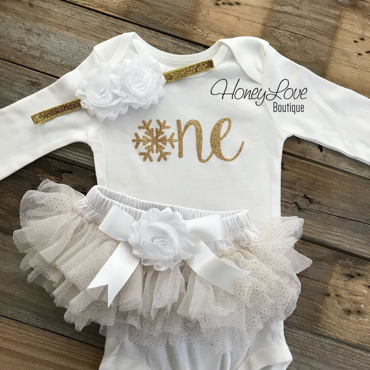 Winter ONEderland 1st Birthday outfit - White and Gold glitter