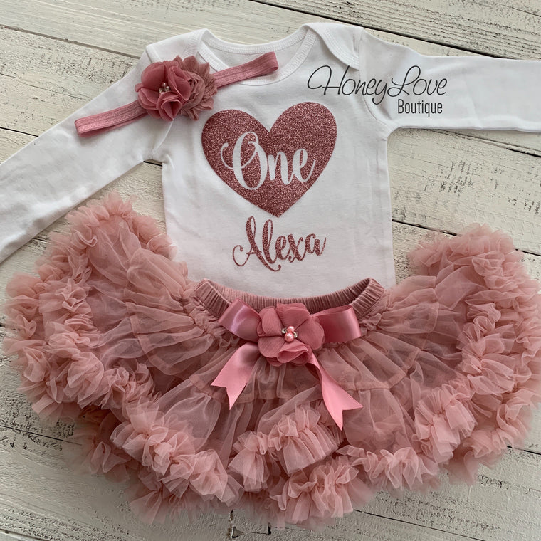 PERSONALIZED 1st Birthday Outfit, vintage pink dusty rose gold one heart number shirt, pettiskirt tutu skirt, First Cake Smash baby girl set - HoneyLoveBoutique