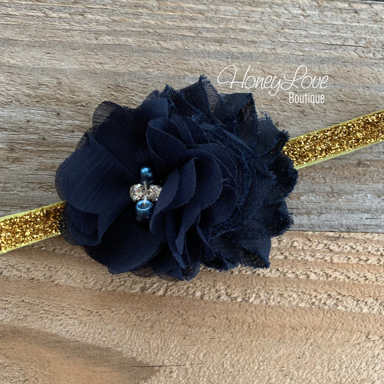 Navy Blue - Silver or Gold glitter headband - HoneyLoveBoutique
