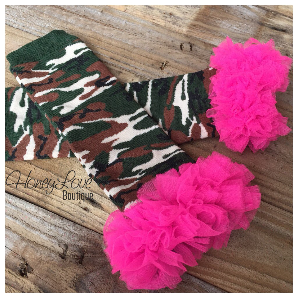 Leg Warmers - Camo with Hot Pink Ruffles - HoneyLoveBoutique
