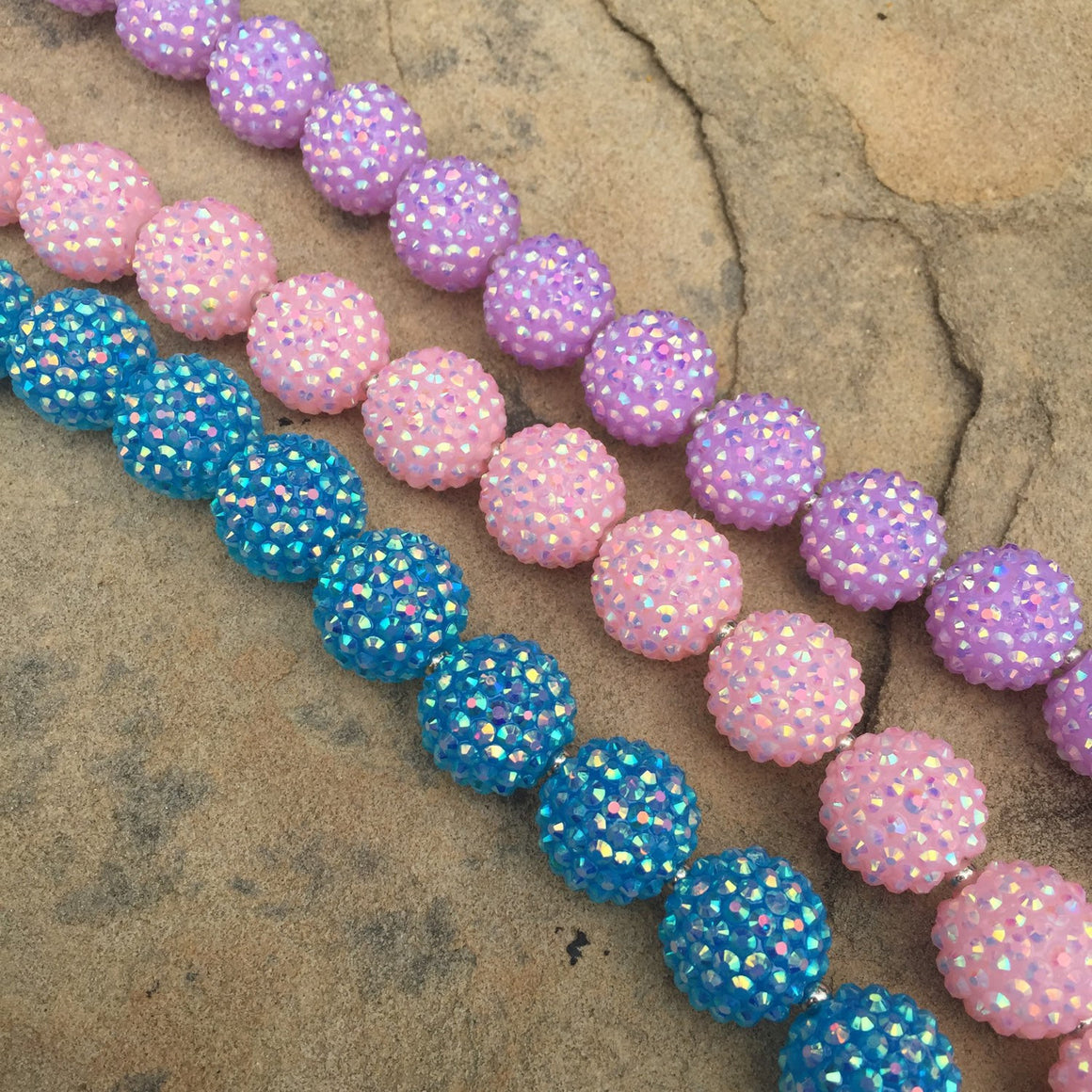 Chunky Beaded Necklace - Pink, Lavender Purple, Blue