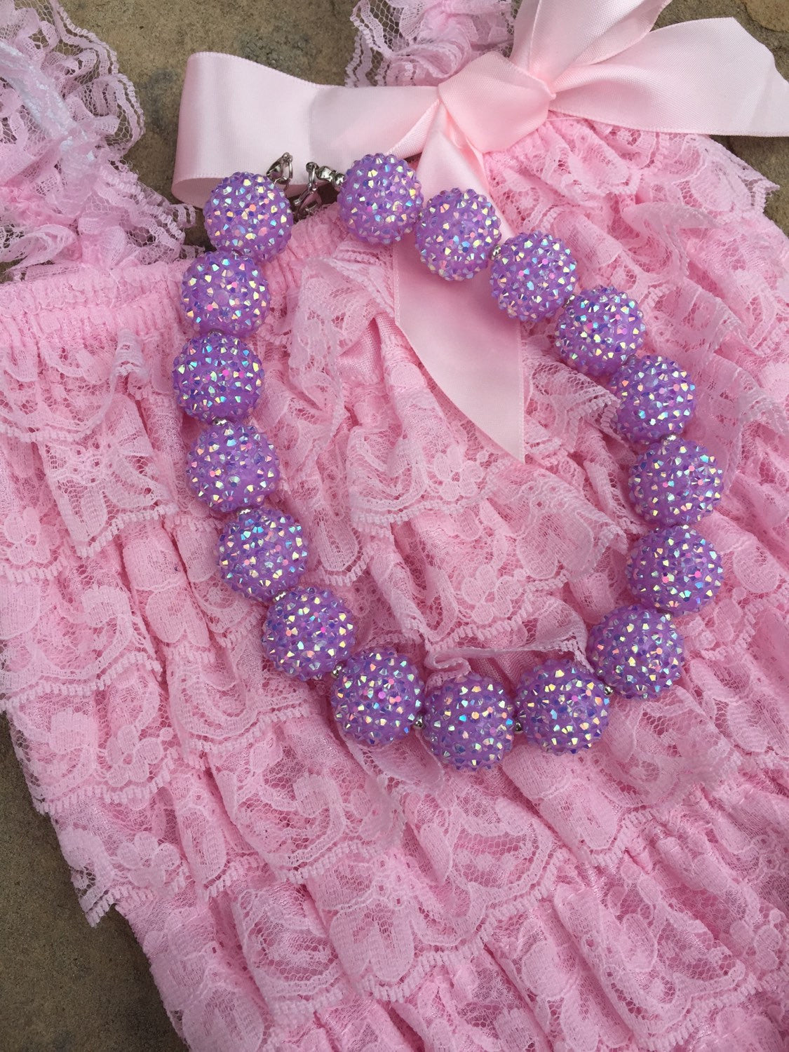 Bubblegum Necklace, Chunky beaded bead, infant toddler little girl jewelry, Sparkly Pink Lavender Purple Blue, Spring pastel Easter - HoneyLoveBoutique