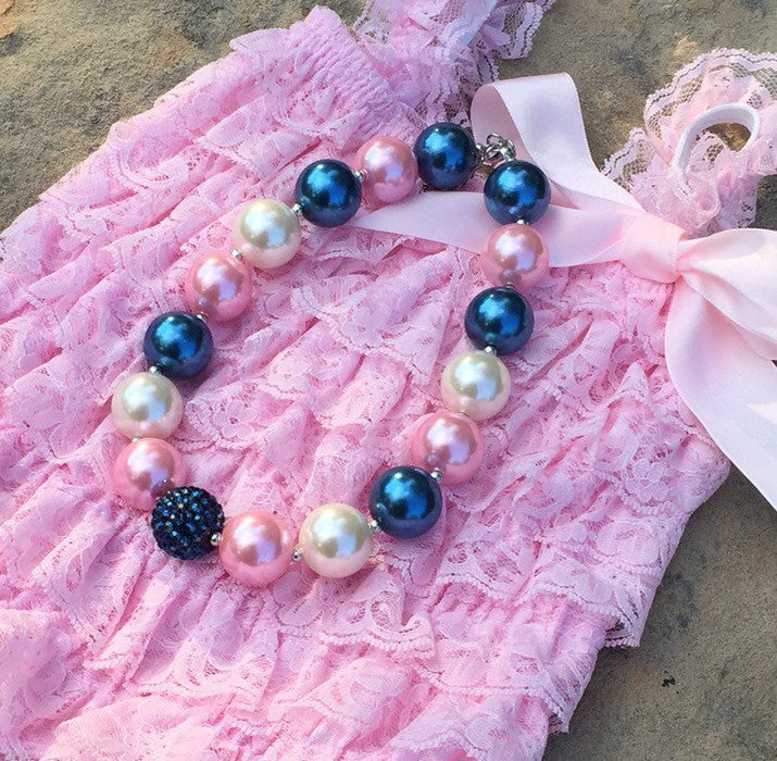 Navy, Pink and Ivory Chunky Beaded Necklace - HoneyLoveBoutique