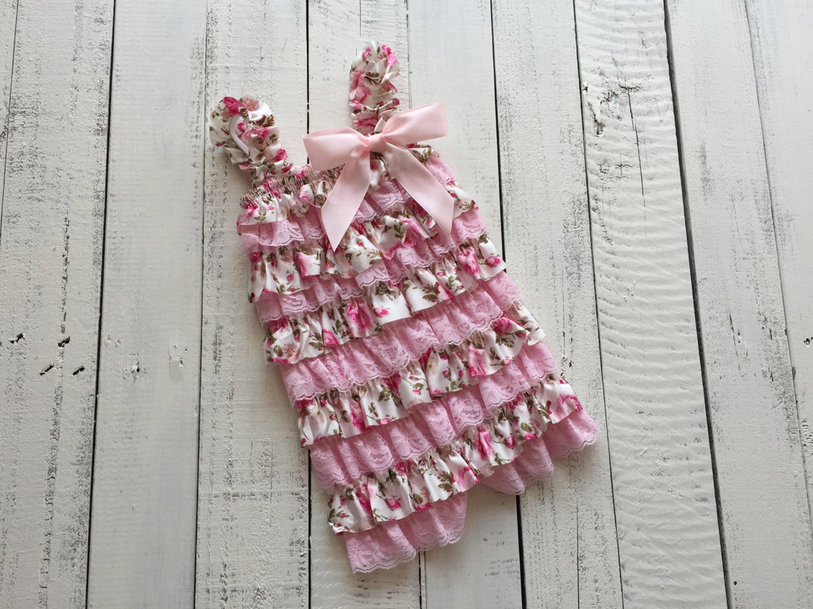 Satin & Lace Petti Romper - Pink and Floral - HoneyLoveBoutique