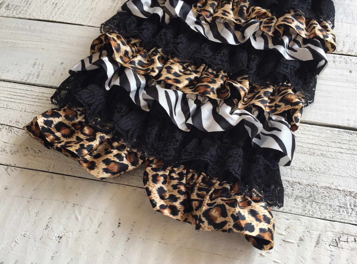 Satin and Lace Petti Romper - Zebra and Leopard Animal Print Satin & Black Lace