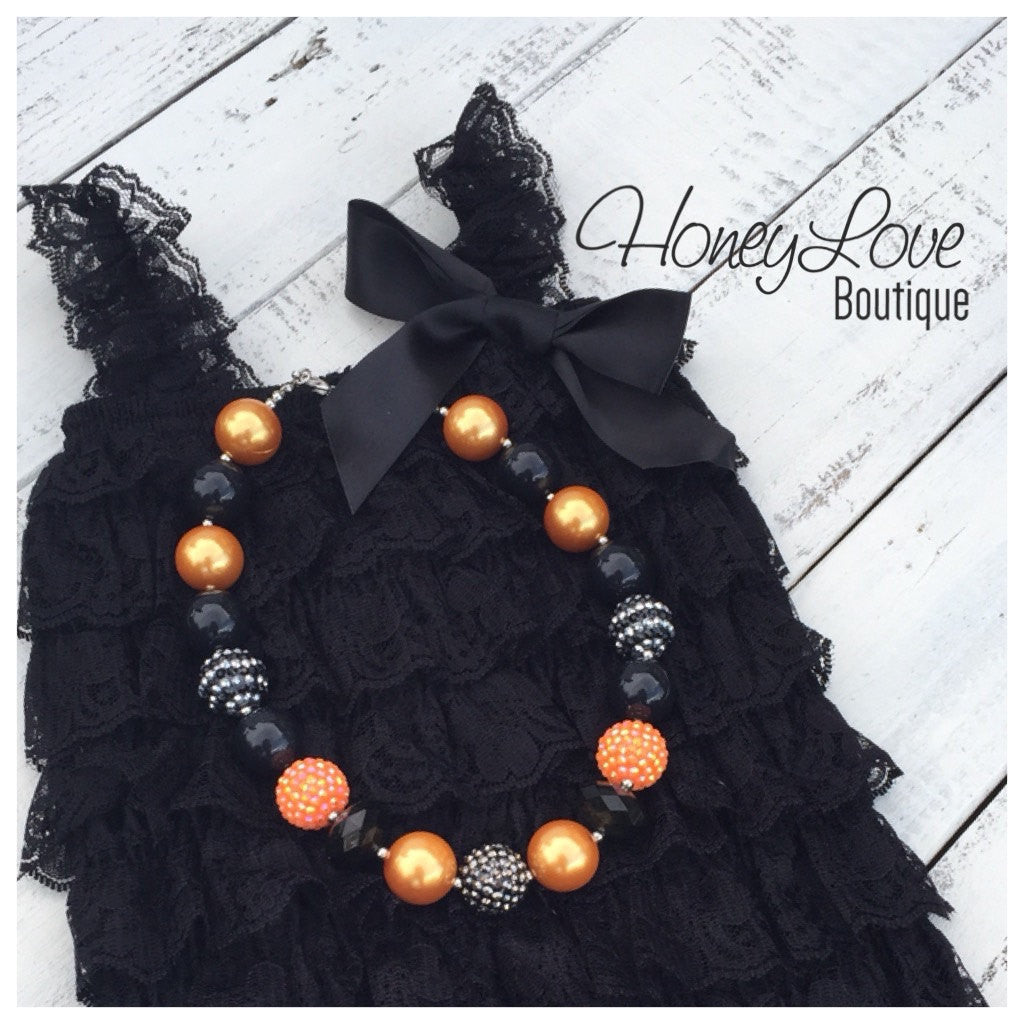 Halloween Outfit SET - Black Lace Petti Romper & Chunky Bead Bubblegum Necklace for baby girl newborn infant toddler little girl photo prop - HoneyLoveBoutique