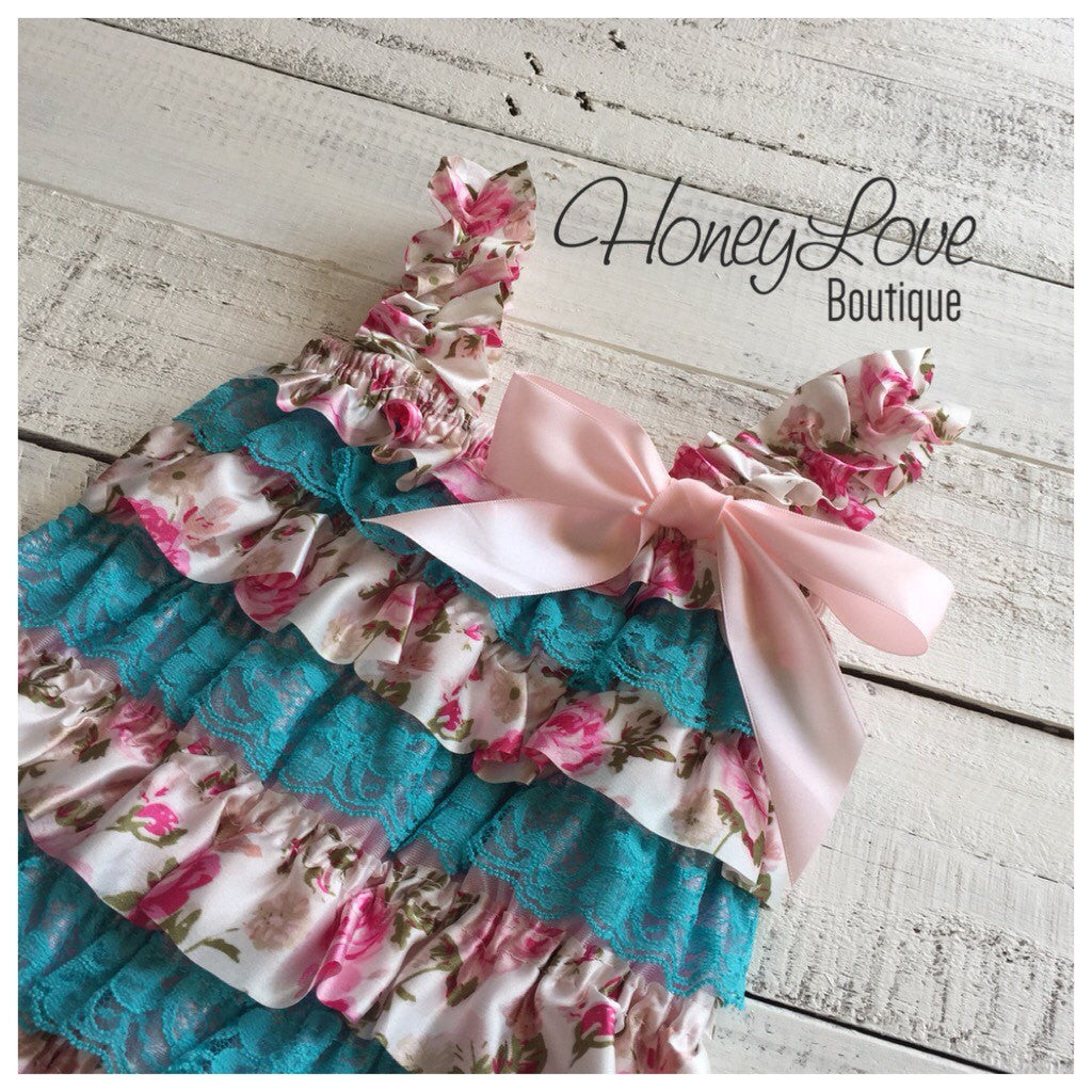 Lace & Satin Petti Romper - Blue Lace and Floral Satin - HoneyLoveBoutique