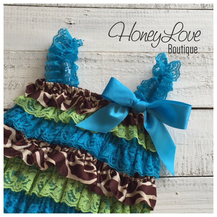 Animal Print, Giraffe Print Satin, Lime & Blue Lace Petti Romper, pettiromper, photo prop, special occasions, smash cake, 1st First Birthday - HoneyLoveBoutique