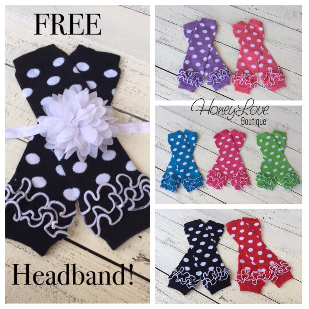 FREE HEADBAND - White polka dot leg warmers, legwarmers, stockings, leggings - baby girl, infant, toddler - baby shower gift, photo prop - HoneyLoveBoutique