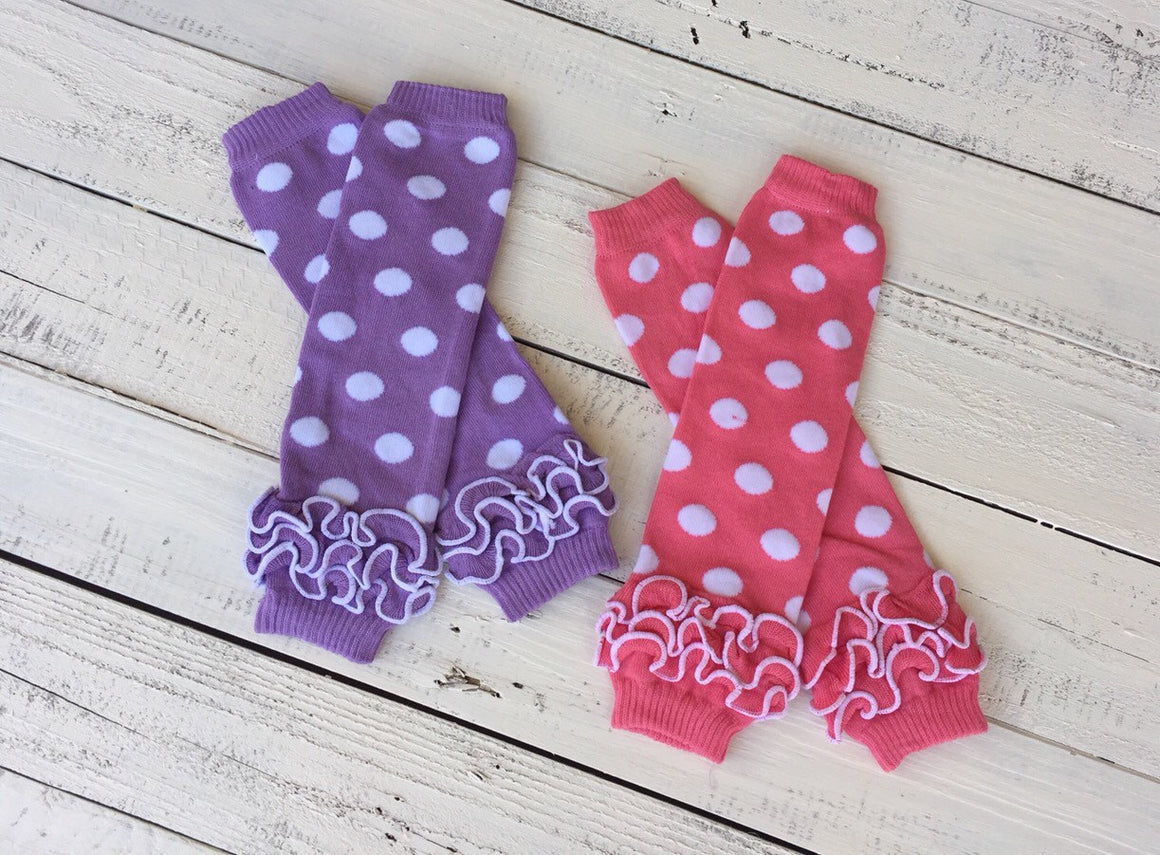 FREE HEADBAND - White polka dot leg warmers