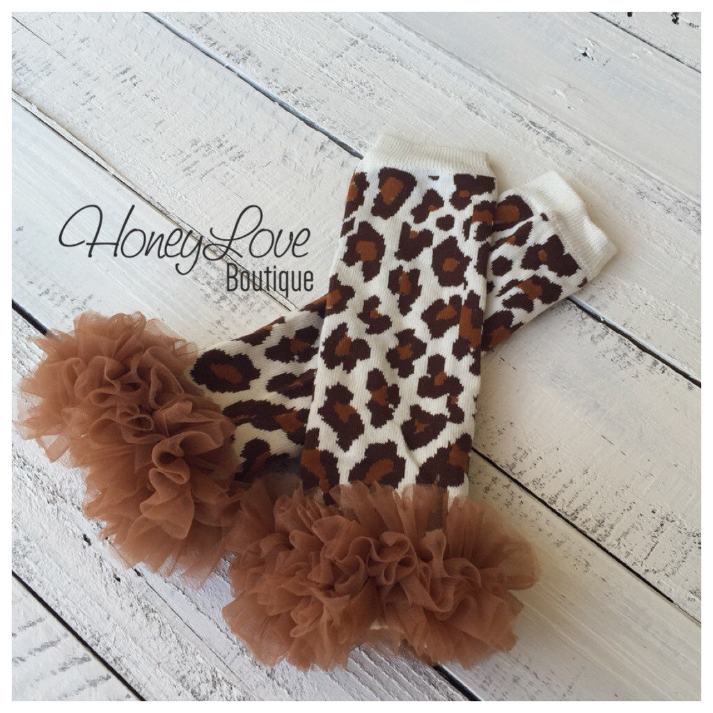Brown ruffle bloomers diaper cover  - Leopard print ruffle bottom leg warmers - matching headband