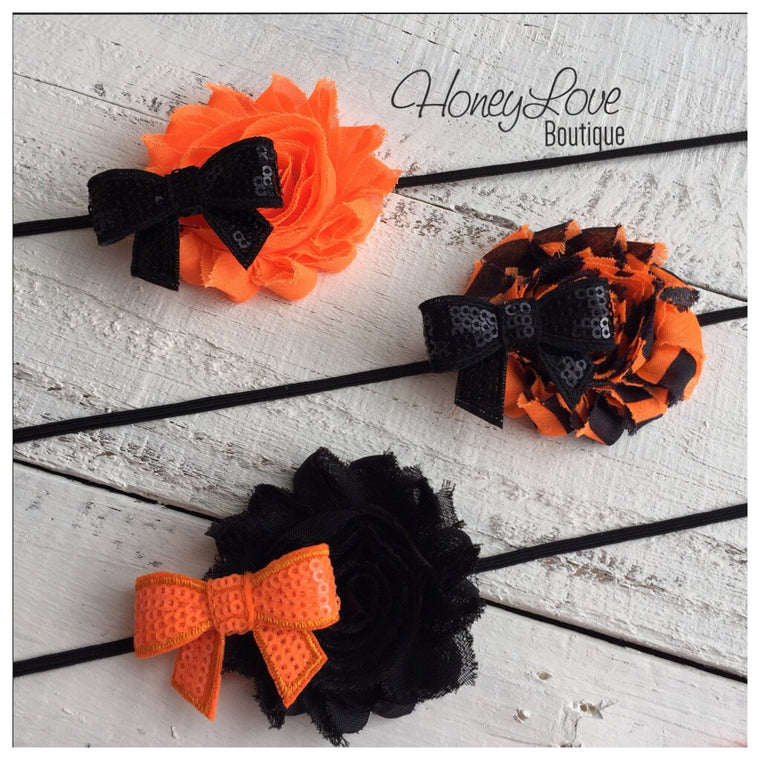 MORE CHOICES - You DESIGN! Halloween Headband - Shabby Flower - Sequin Bow - Skinny Elastic - little girls, newborn, infant, toddler, baby - HoneyLoveBoutique
