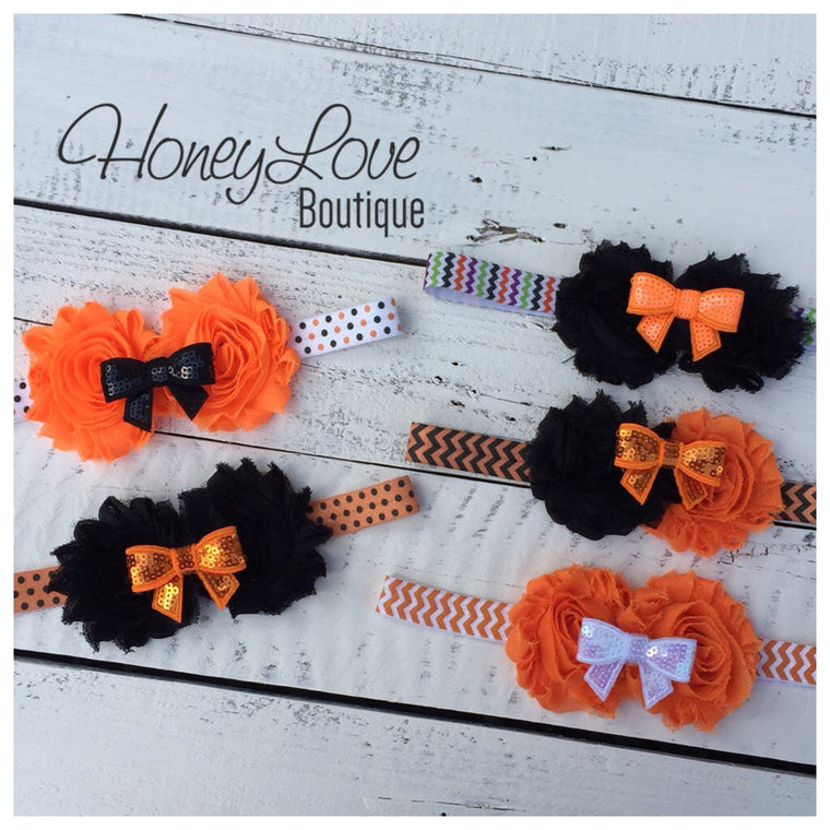 Halloween Headband - Shabby Flower - Sequin Bow - Chevron, Polka Dot Elastic - HoneyLoveBoutique